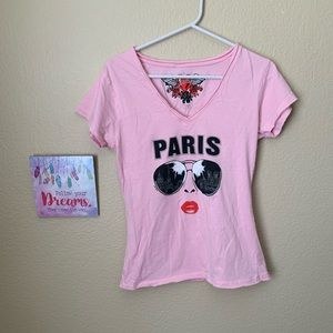 Tops - 🔥30%OFF🔥pink shirt says Paris/girl w/glasses L